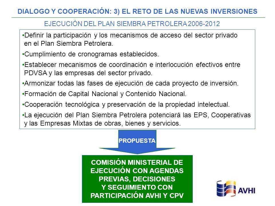 DIALOGO Y COOPERACIÓN: 3) EL RETO DE LAS NUEVAS INVERSIONES Definir la participación y los mecanismos de acceso del sector privado en el Plan Siembra