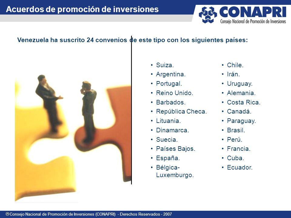 Consejo Nacional de Promoción de Inversiones (CONAPRI) - Derechos Reservados - 2007 Venezuela ha suscrito 24 convenios de este tipo con los siguientes países: Acuerdos de promoción de inversiones Suiza.