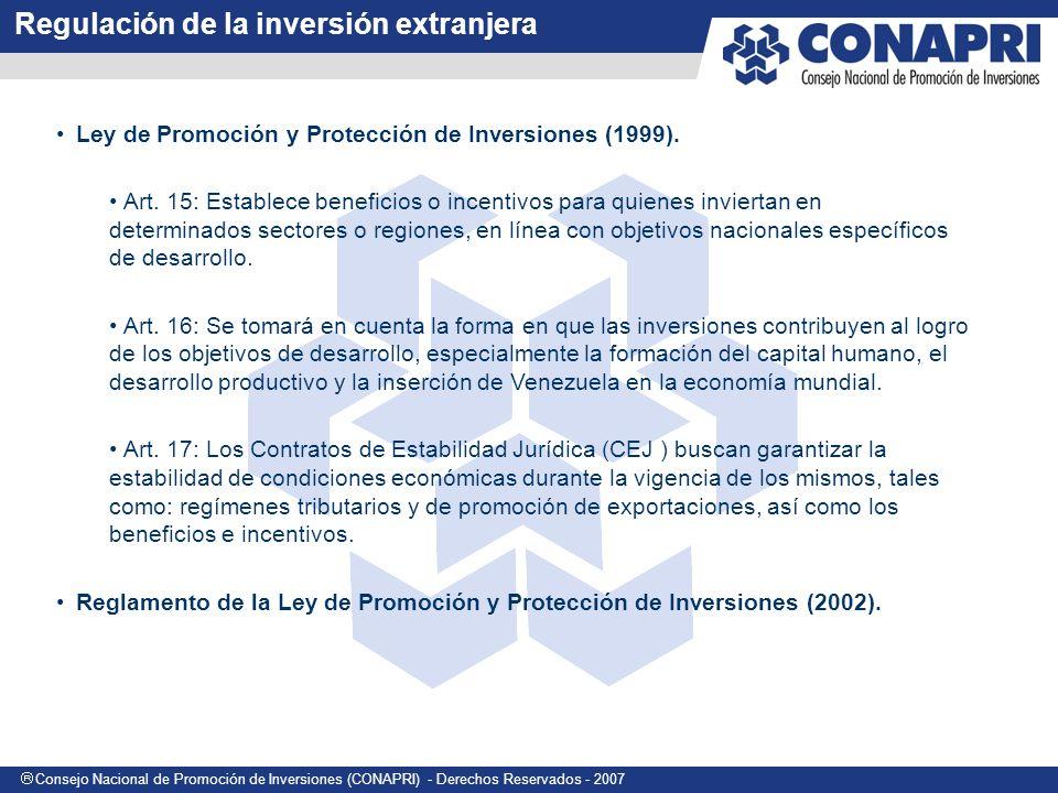 Consejo Nacional de Promoción de Inversiones (CONAPRI) - Derechos Reservados - 2007 Ley de Promoción y Protección de Inversiones (1999).