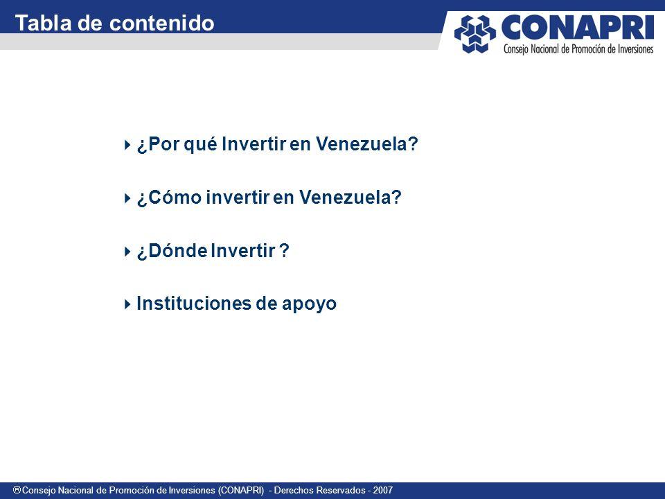 Consejo Nacional de Promoción de Inversiones (CONAPRI) - Derechos Reservados - 2007 Por qué invertir en VENEZUELA?