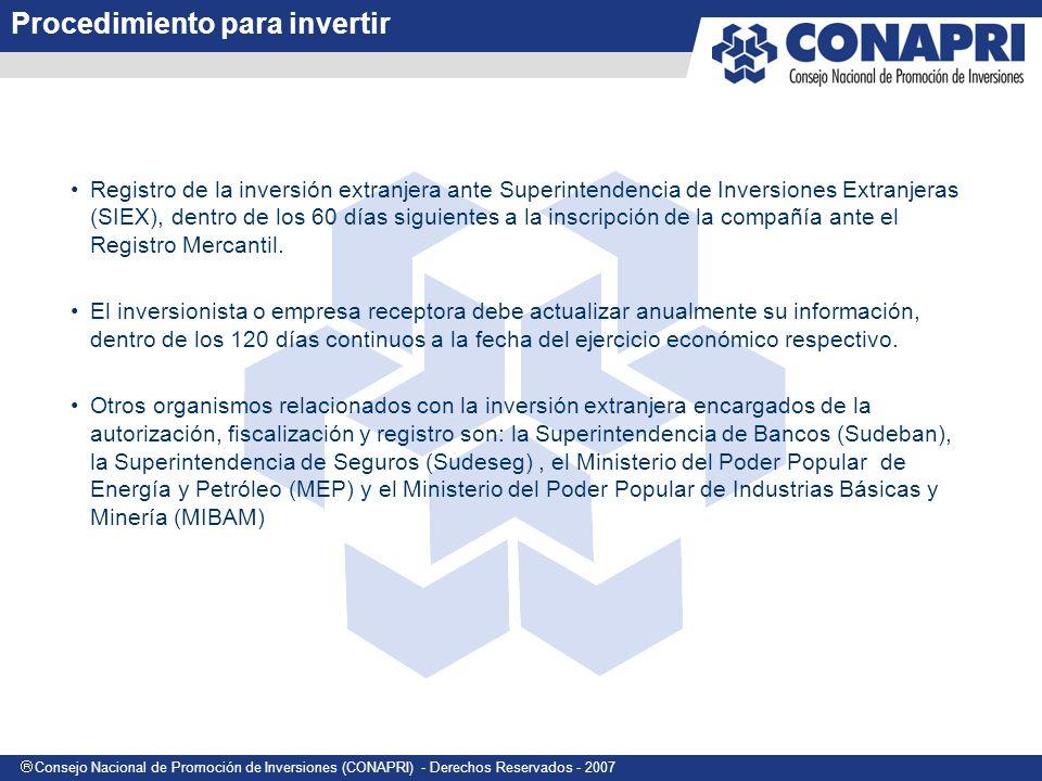 Consejo Nacional de Promoción de Inversiones (CONAPRI) - Derechos Reservados - 2007 Registro de la inversión extranjera ante Superintendencia de Inversiones Extranjeras (SIEX), dentro de los 60 días siguientes a la inscripción de la compañía ante el Registro Mercantil.