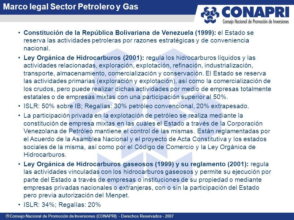 Consejo Nacional de Promoción de Inversiones (CONAPRI) - Derechos Reservados - 2007 Constitución de la República Bolivariana de Venezuela (1999): el Estado se reserva las actividades petroleras por razones estratégicas y de conveniencia nacional.