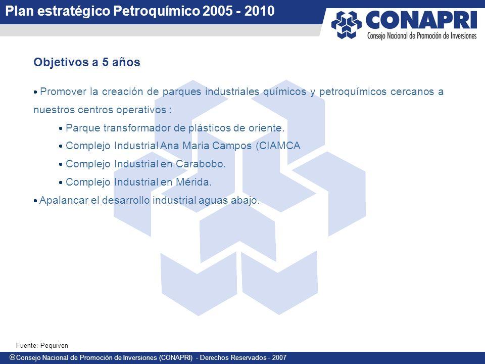 Consejo Nacional de Promoción de Inversiones (CONAPRI) - Derechos Reservados - 2007 Promover la creación de parques industriales químicos y petroquímicos cercanos a nuestros centros operativos : Parque transformador de plásticos de oriente.
