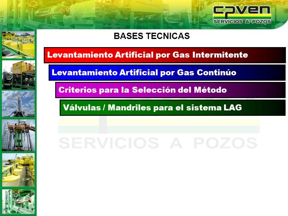 Levantamiento Artificial por Gas Continúo Criterios para la Selección del Método Válvulas / Mandriles para el sistema LAG Levantamiento Artificial por