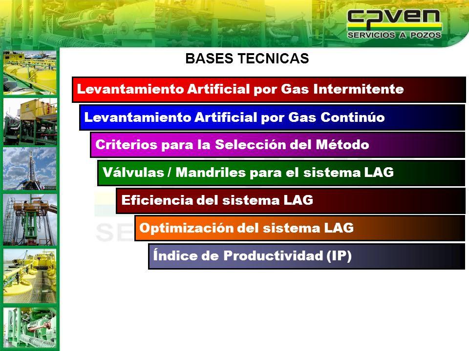 Índice de Productividad (IP) Levantamiento Artificial por Gas Intermitente Levantamiento Artificial por Gas Continúo Criterios para la Selección del M