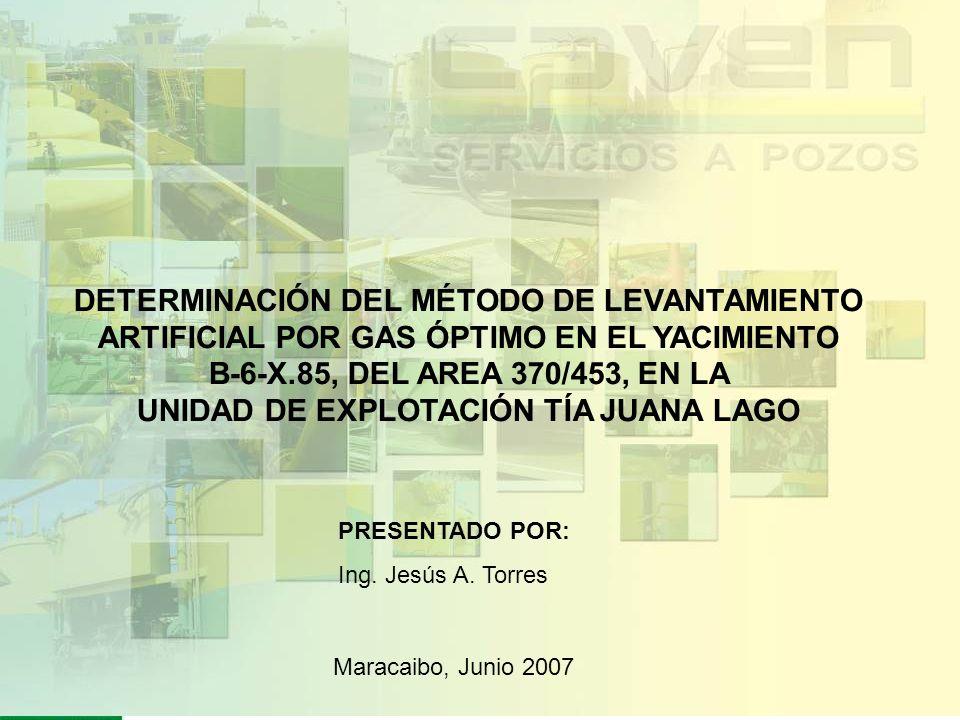 PRESENTADO POR: Ing. Jesús A. Torres Maracaibo, Junio 2007 DETERMINACIÓN DEL MÉTODO DE LEVANTAMIENTO ARTIFICIAL POR GAS ÓPTIMO EN EL YACIMIENTO B-6-X.