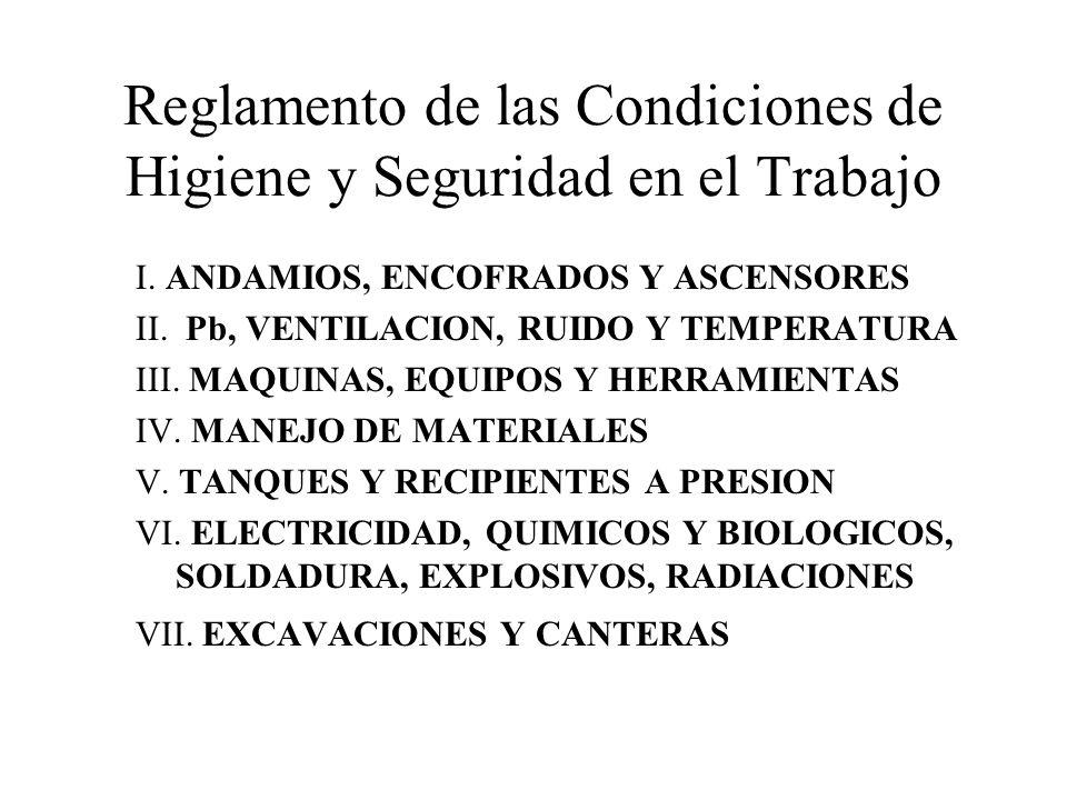 Reglamento de las Condiciones de Higiene y Seguridad en el Trabajo I. ANDAMIOS, ENCOFRADOS Y ASCENSORES II. Pb, VENTILACION, RUIDO Y TEMPERATURA III.