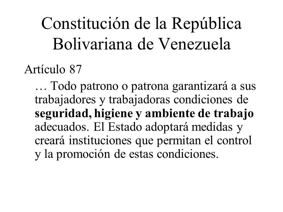Constitución de la República Bolivariana de Venezuela Artículo 87 … Todo patrono o patrona garantizará a sus trabajadores y trabajadoras condiciones d