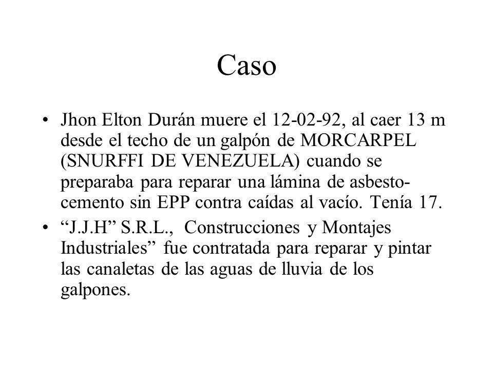 Caso Jhon Elton Durán muere el 12-02-92, al caer 13 m desde el techo de un galpón de MORCARPEL (SNURFFI DE VENEZUELA) cuando se preparaba para reparar