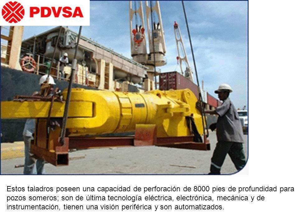 Estos taladros poseen una capacidad de perforación de 8000 pies de profundidad para pozos someros; son de última tecnología eléctrica, electrónica, mecánica y de instrumentación, tienen una visión periférica y son automatizados.