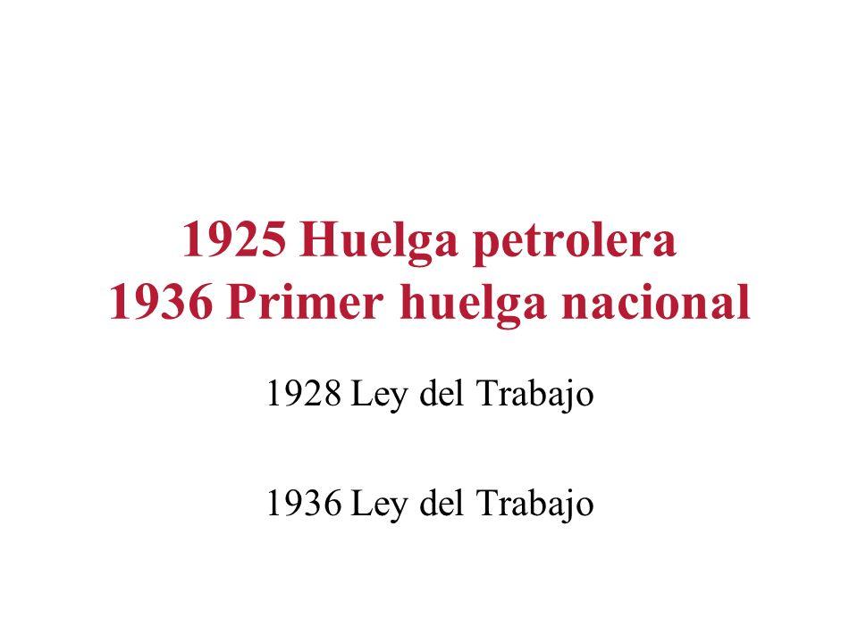 1925 Huelga petrolera 1936 Primer huelga nacional 1928 Ley del Trabajo 1936 Ley del Trabajo