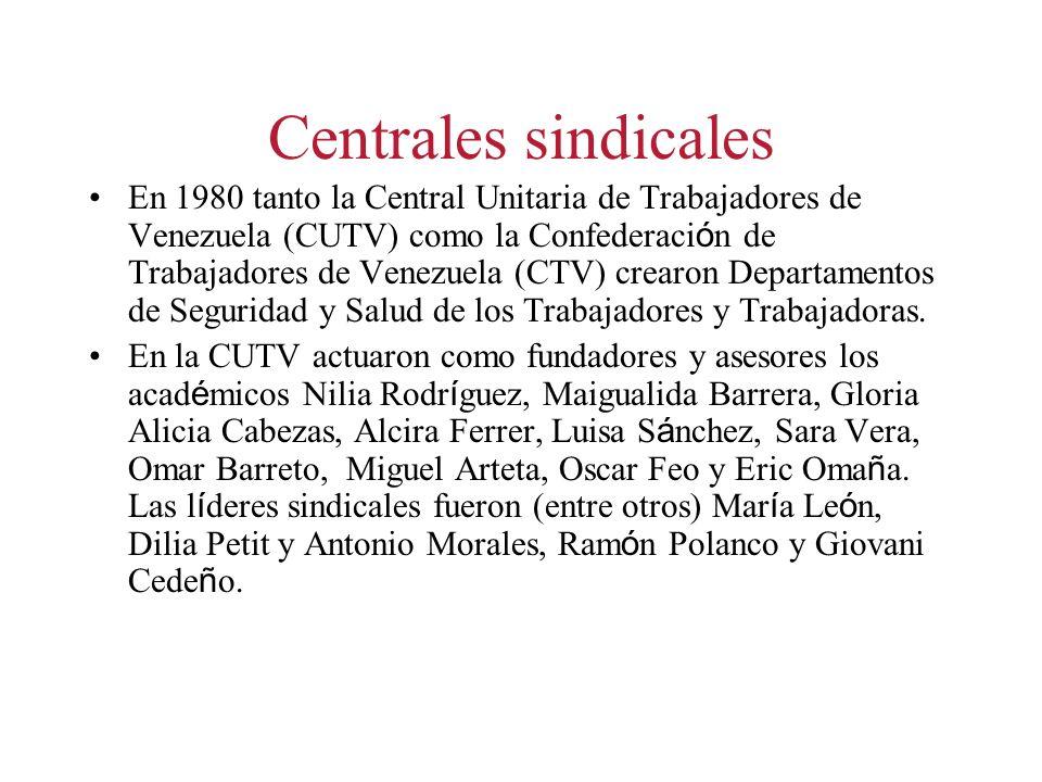 Centrales sindicales En 1980 tanto la Central Unitaria de Trabajadores de Venezuela (CUTV) como la Confederaci ó n de Trabajadores de Venezuela (CTV) crearon Departamentos de Seguridad y Salud de los Trabajadores y Trabajadoras.