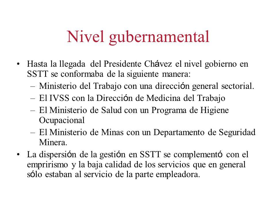 Nivel gubernamental Hasta la llegada del Presidente Ch á vez el nivel gobierno en SSTT se conformaba de la siguiente manera: –Ministerio del Trabajo con una direcci ó n general sectorial.