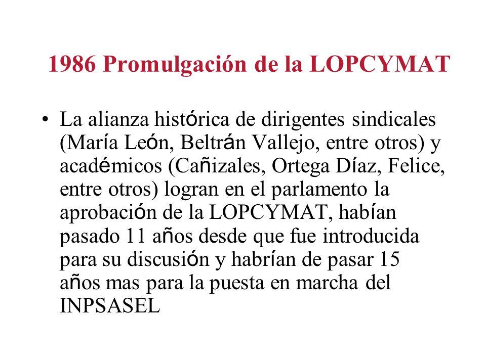 1986 Promulgación de la LOPCYMAT La alianza hist ó rica de dirigentes sindicales (Mar í a Le ó n, Beltr á n Vallejo, entre otros) y acad é micos (Ca ñ izales, Ortega D í az, Felice, entre otros) logran en el parlamento la aprobaci ó n de la LOPCYMAT, hab í an pasado 11 a ñ os desde que fue introducida para su discusi ó n y habr í an de pasar 15 a ñ os mas para la puesta en marcha del INPSASEL