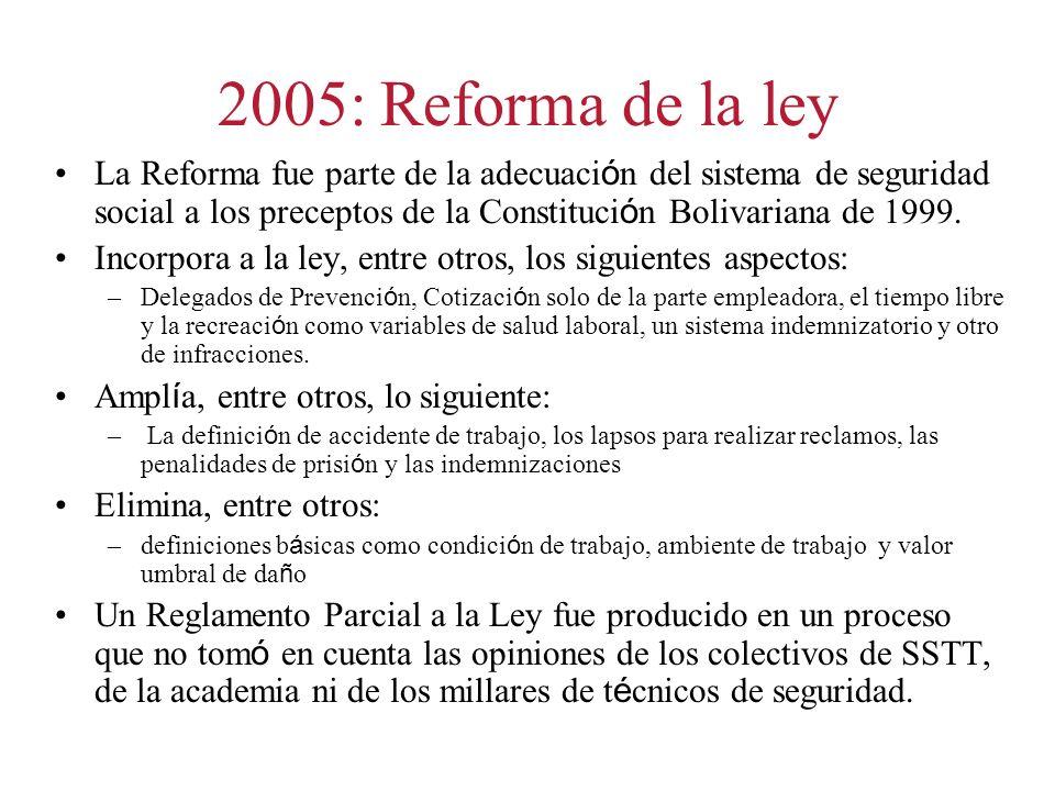2005: Reforma de la ley La Reforma fue parte de la adecuaci ó n del sistema de seguridad social a los preceptos de la Constituci ó n Bolivariana de 1999.