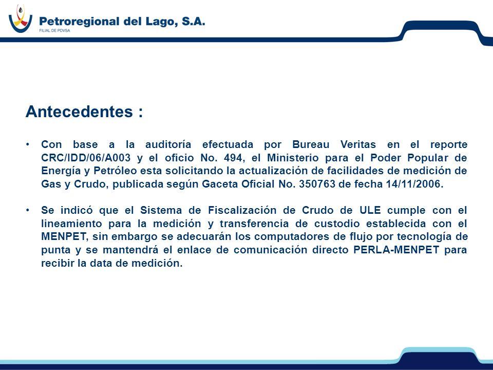 Antecedentes : Con base a la auditoría efectuada por Bureau Veritas en el reporte CRC/IDD/06/A003 y el oficio No. 494, el Ministerio para el Poder Pop