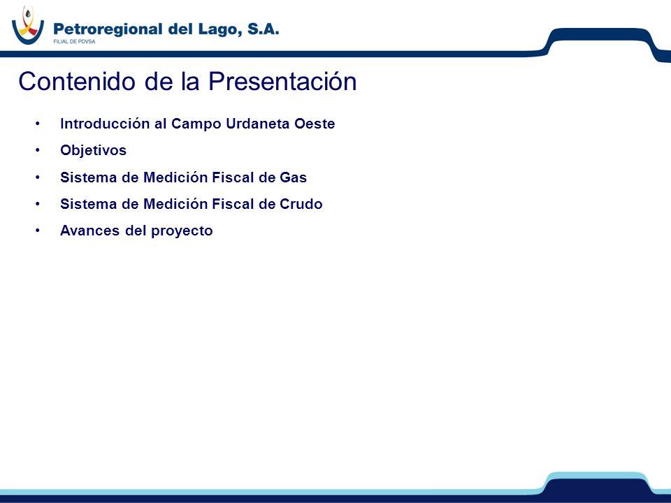 Introducción al Campo Urdaneta Oeste Objetivos Sistema de Medición Fiscal de Gas Sistema de Medición Fiscal de Crudo Avances del proyecto Contenido de