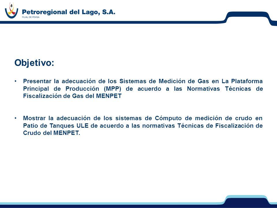 Objetivo: Presentar la adecuación de los Sistemas de Medición de Gas en La Plataforma Principal de Producción (MPP) de acuerdo a las Normativas Técnic