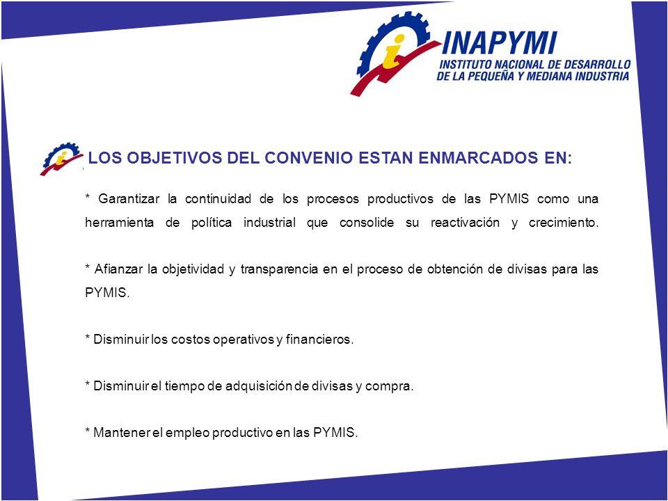 LOS OBJETIVOS DEL CONVENIO ESTAN ENMARCADOS EN: * Garantizar la continuidad de los procesos productivos de las PYMIS como una herramienta de política