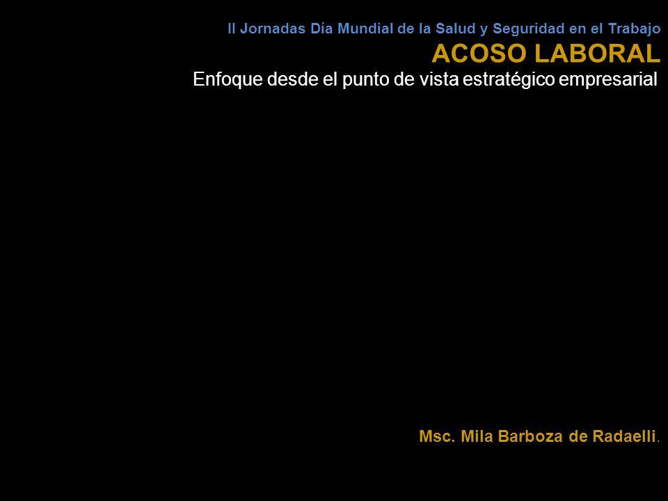 II Jornadas Día Mundial de la Salud y Seguridad en el Trabajo ACOSO LABORAL Enfoque desde el punto de vista estratégico empresarial Msc. Mila Barboza