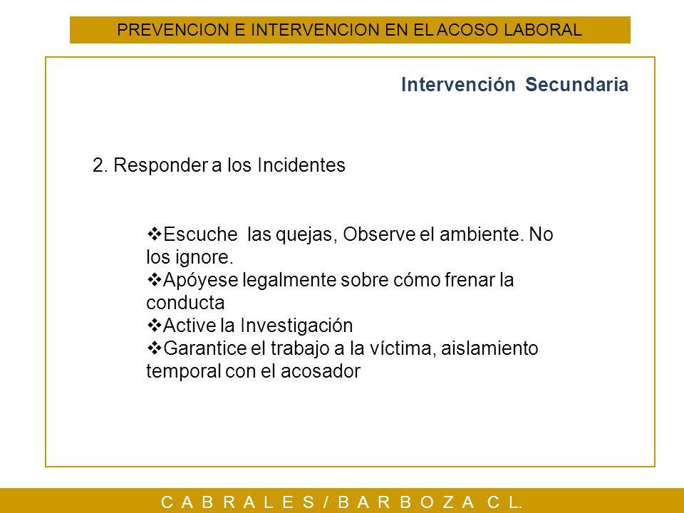 C A B R A L E S / B A R B O Z A C L. Intervención Secundaria PREVENCION E INTERVENCION EN EL ACOSO LABORAL 2. Responder a los Incidentes Escuche las q