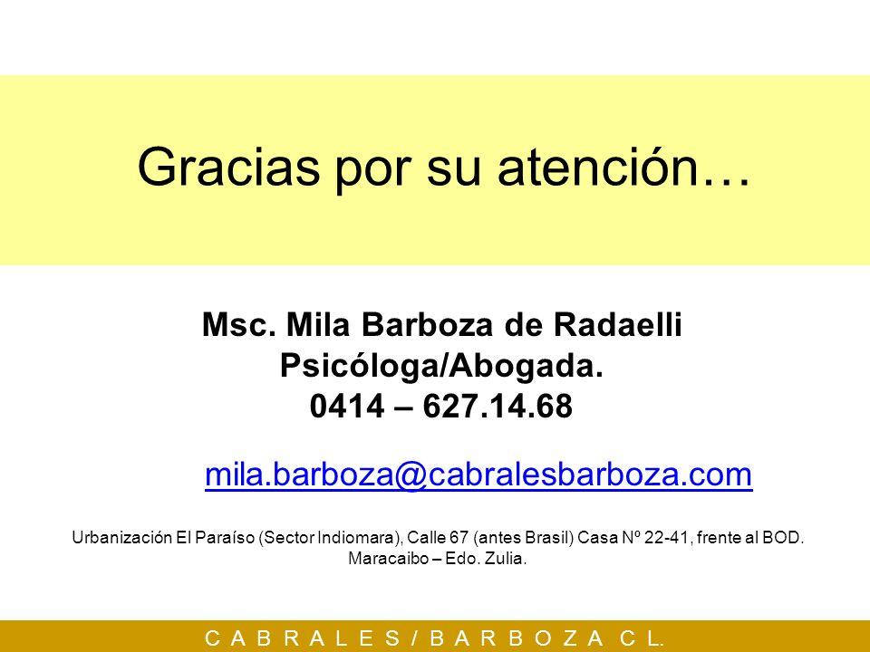 C A B R A L E S / B A R B O Z A C L. Gracias por su atención… mila.barboza@cabralesbarboza.com Msc. Mila Barboza de Radaelli Psicóloga/Abogada. 0414 –
