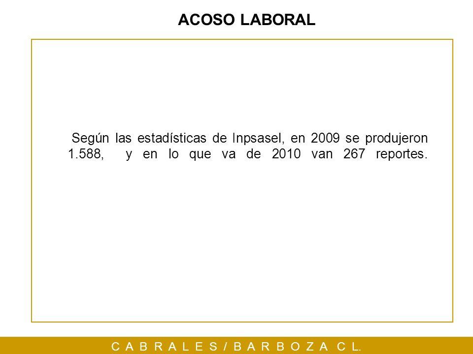 C A B R A L E S / B A R B O Z A C L. ACOSO LABORAL Según las estadísticas de Inpsasel, en 2009 se produjeron 1.588, y en lo que va de 2010 van 267 rep