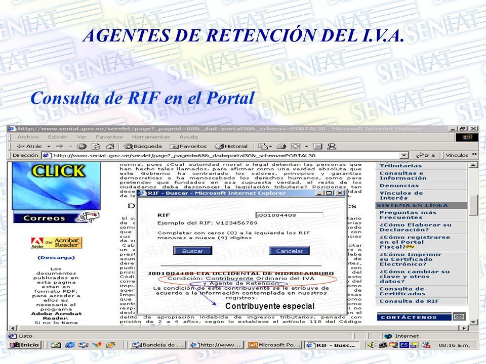 AGENTES DE RETENCIÓN DEL I.V.A. Consulta de RIF en el Portal Contribuyente especial