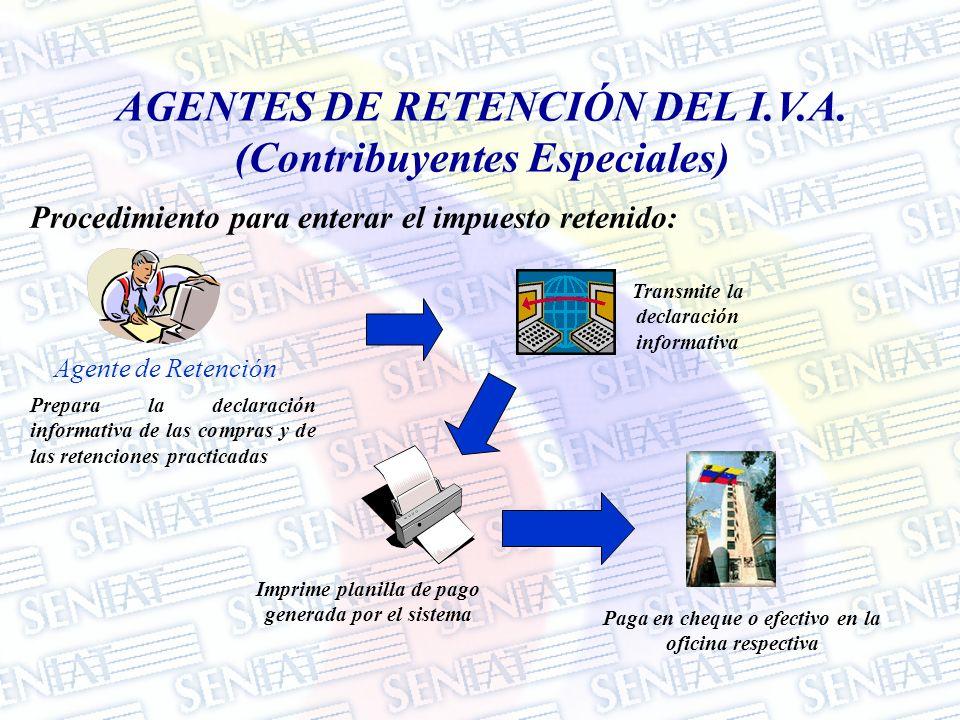Procedimiento para enterar el impuesto retenido: Agente de Retención Prepara la declaración informativa de las compras y de las retenciones practicada