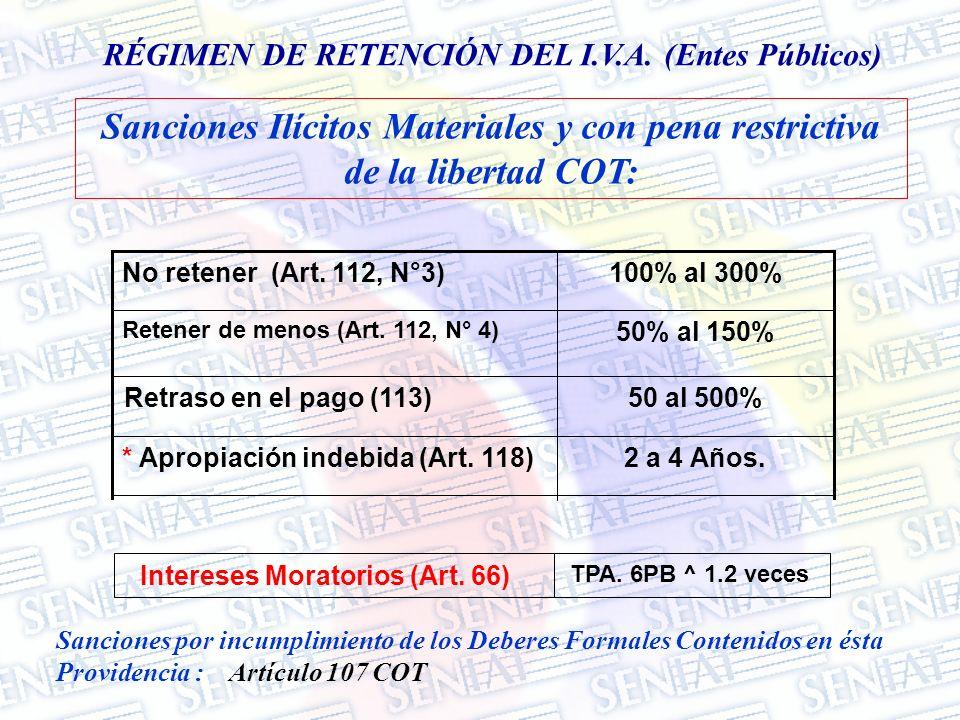 RÉGIMEN DE RETENCIÓN DEL I.V.A. (Entes Públicos) 2 a 4 Años.* Apropiación indebida (Art. 118) 50 al 500%Retraso en el pago (113) 50% al 150% Retener d