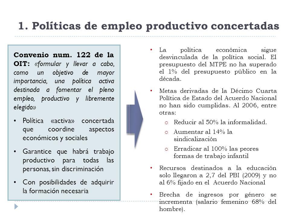 1. Políticas de empleo productivo concertadas Convenio num.