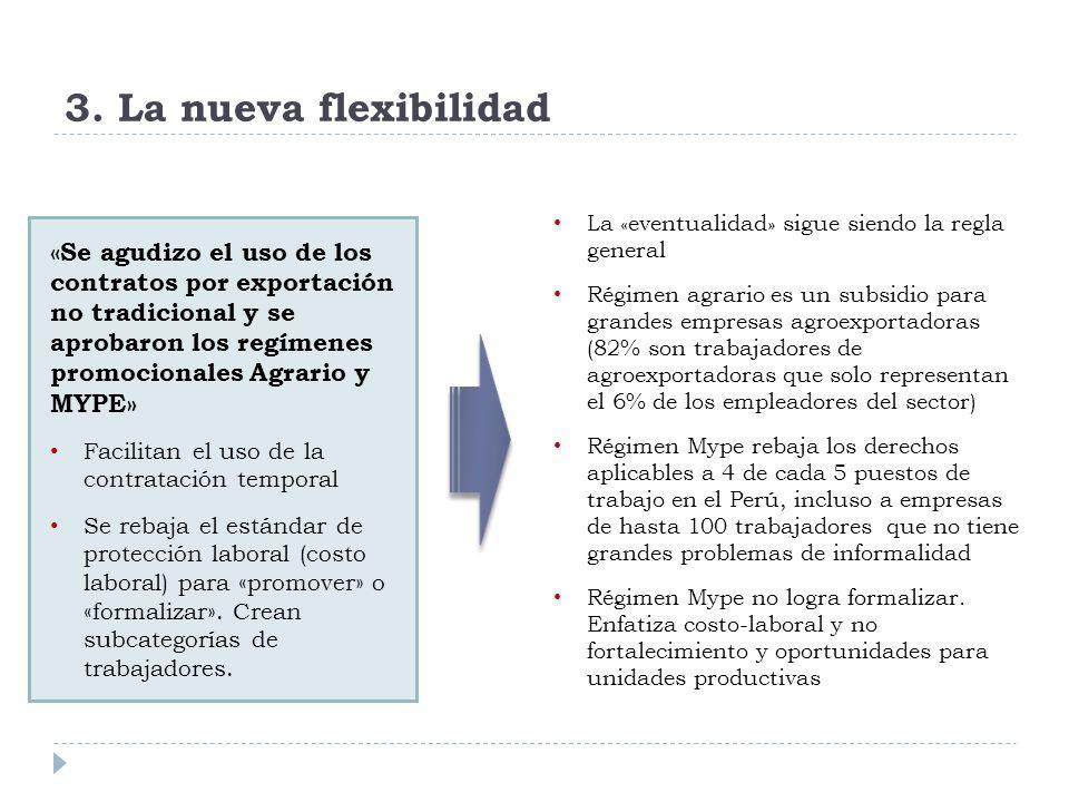 3. La nueva flexibilidad «Se agudizo el uso de los contratos por exportación no tradicional y se aprobaron los regímenes promocionales Agrario y MYPE»