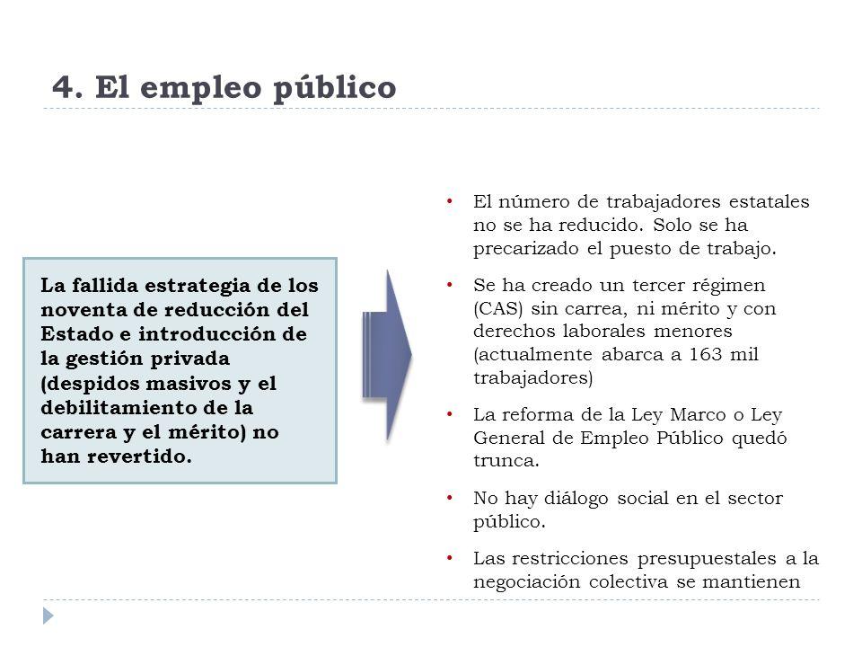 4. El empleo público La fallida estrategia de los noventa de reducción del Estado e introducción de la gestión privada (despidos masivos y el debilita