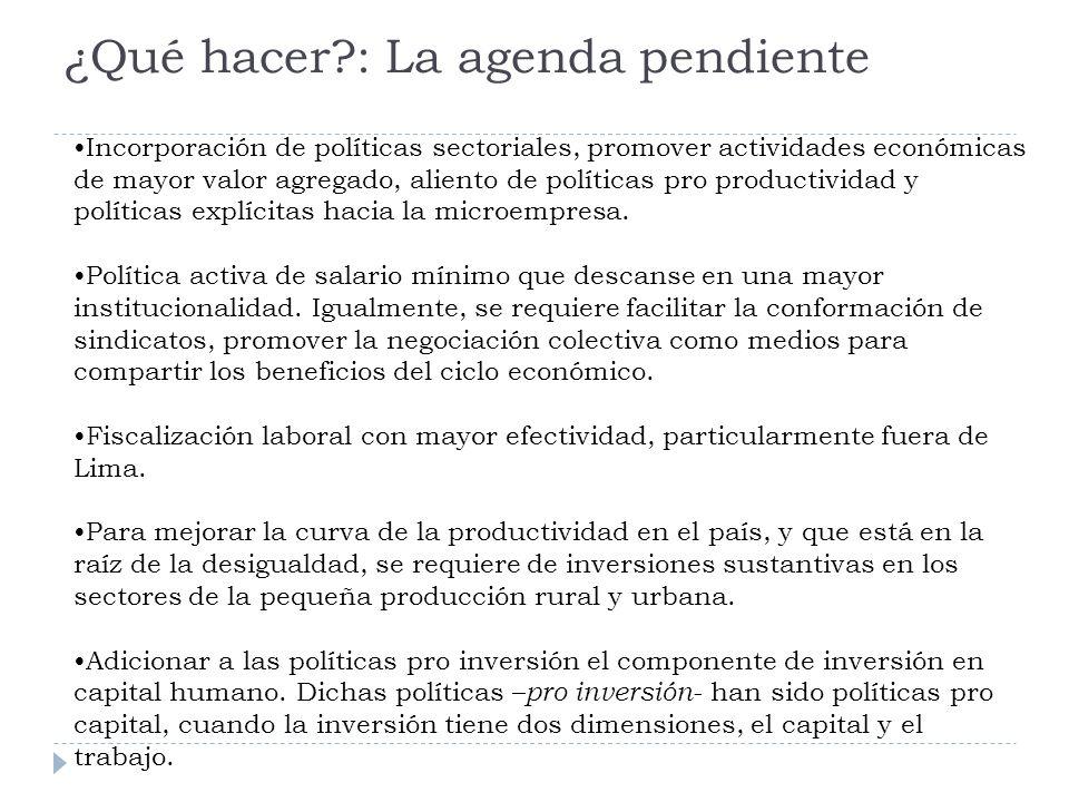 ¿Qué hacer?: La agenda pendiente Incorporación de políticas sectoriales, promover actividades económicas de mayor valor agregado, aliento de políticas pro productividad y políticas explícitas hacia la microempresa.