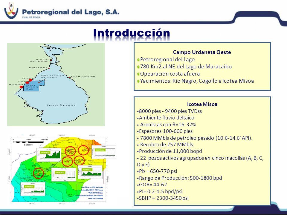Campo Urdaneta Oeste Petroregional del Lago 780 Km2 al NE del Lago de Maracaibo Opearación costa afuera Yacimientos: Rio Negro, Cogollo e Icotea Misoa