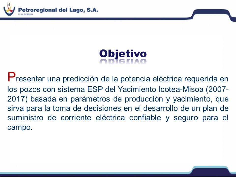 P resentar una predicción de la potencia eléctrica requerida en los pozos con sistema ESP del Yacimiento Icotea-Misoa (2007- 2017) basada en parámetro