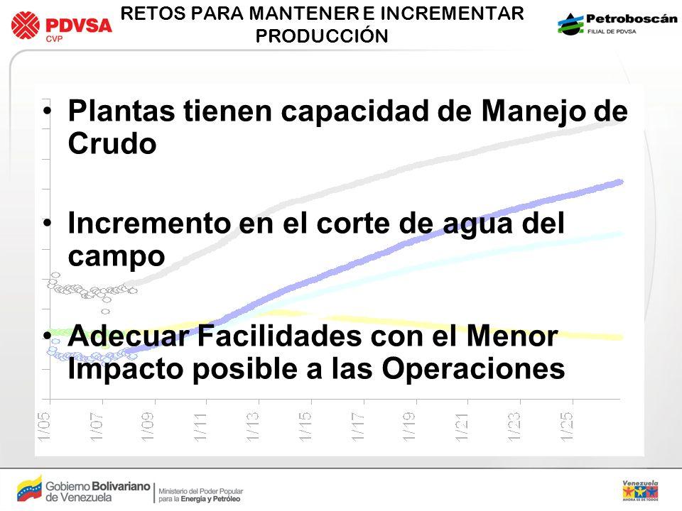 RETOS PARA MANTENER E INCREMENTAR PRODUCCIÓN Plantas tienen capacidad de Manejo de Crudo Incremento en el corte de agua del campo Adecuar Facilidades