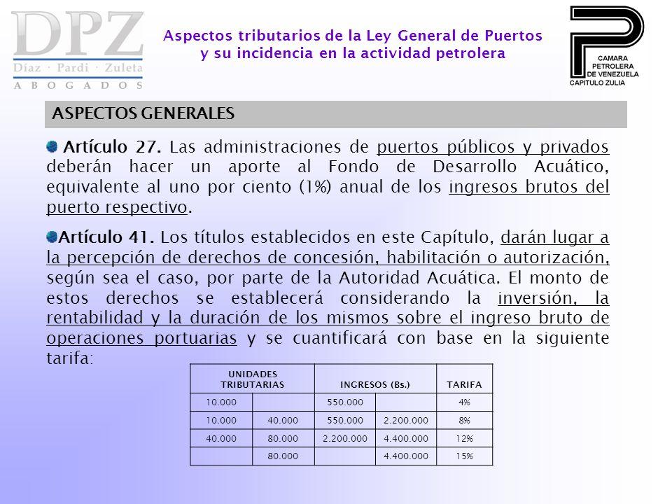Artículo 27. Las administraciones de puertos públicos y privados deberán hacer un aporte al Fondo de Desarrollo Acuático, equivalente al uno por cient