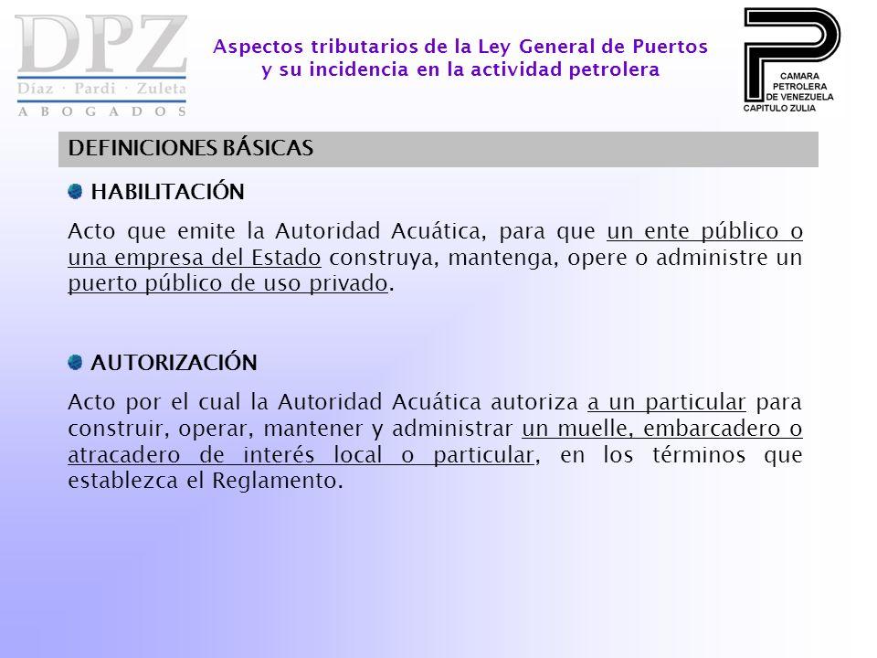 HABILITACIÓN Acto que emite la Autoridad Acuática, para que un ente público o una empresa del Estado construya, mantenga, opere o administre un puerto