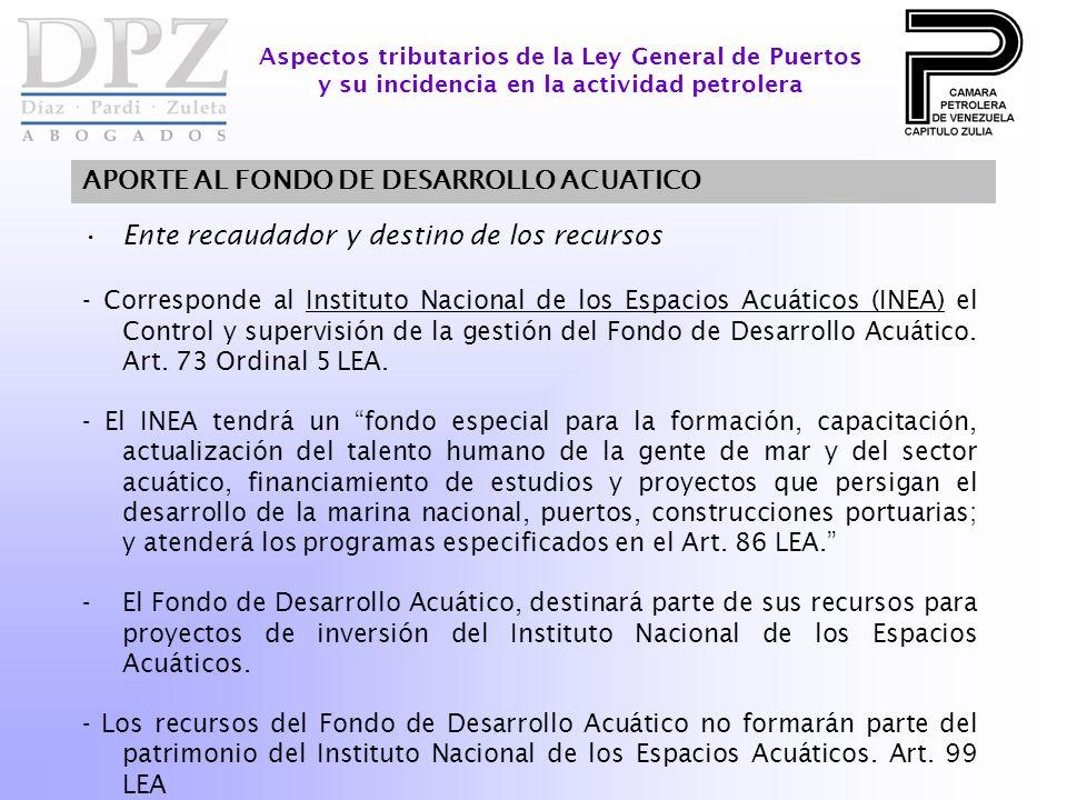Ente recaudador y destino de los recursos - Corresponde al Instituto Nacional de los Espacios Acuáticos (INEA) el Control y supervisión de la gestión