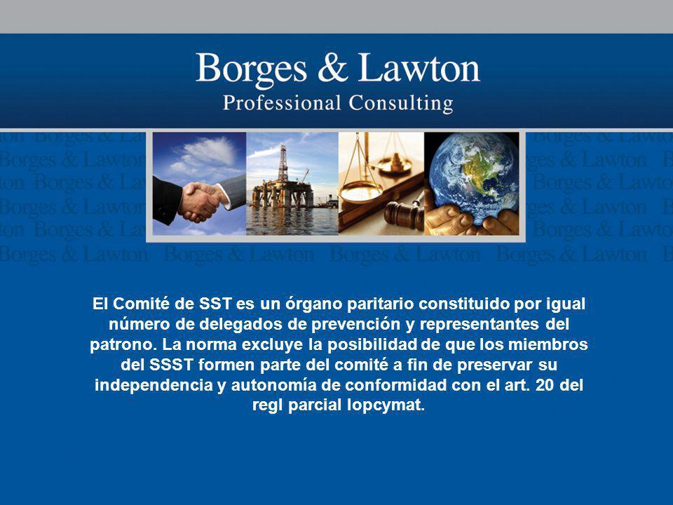 El Comité de SST es un órgano paritario constituido por igual número de delegados de prevención y representantes del patrono. La norma excluye la posi