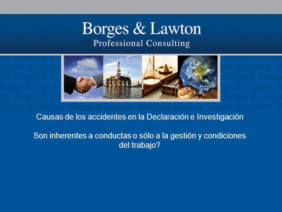Causas de los accidentes en la Declaración e Investigación Son inherentes a conductas o sólo a la gestión y condiciones del trabajo?