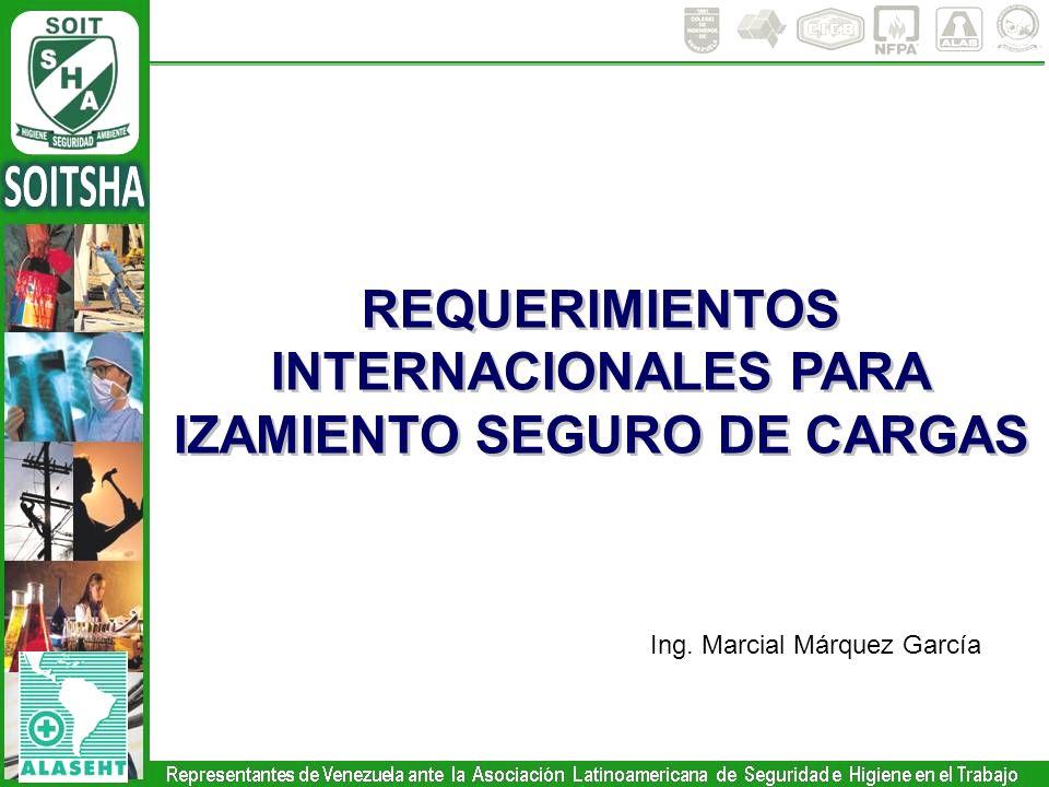 REQUERIMIENTOS INTERNACIONALES PARA IZAMIENTO SEGURO DE CARGAS REQUERIMIENTOS INTERNACIONALES PARA IZAMIENTO SEGURO DE CARGAS Ing. Marcial Márquez Gar