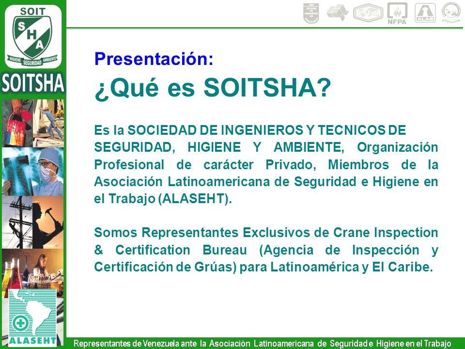 Presentación: ¿Qué es SOITSHA? Es la SOCIEDAD DE INGENIEROS Y TECNICOS DE SEGURIDAD, HIGIENE Y AMBIENTE, Organización Profesional de carácter Privado,