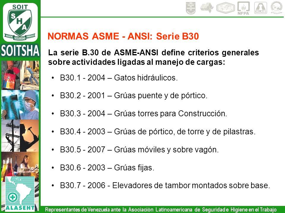La serie B.30 de ASME-ANSI define criterios generales sobre actividades ligadas al manejo de cargas: B30.1 - 2004 – Gatos hidráulicos. B30.2 - 2001 –