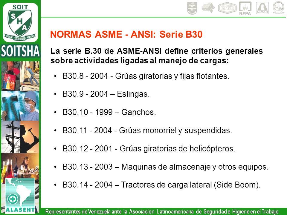 La serie B.30 de ASME-ANSI define criterios generales sobre actividades ligadas al manejo de cargas: B30.8 - 2004 - Grúas giratorias y fijas flotantes