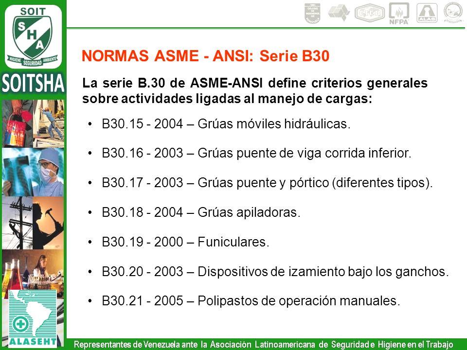La serie B.30 de ASME-ANSI define criterios generales sobre actividades ligadas al manejo de cargas: B30.15 - 2004 – Grúas móviles hidráulicas. B30.16