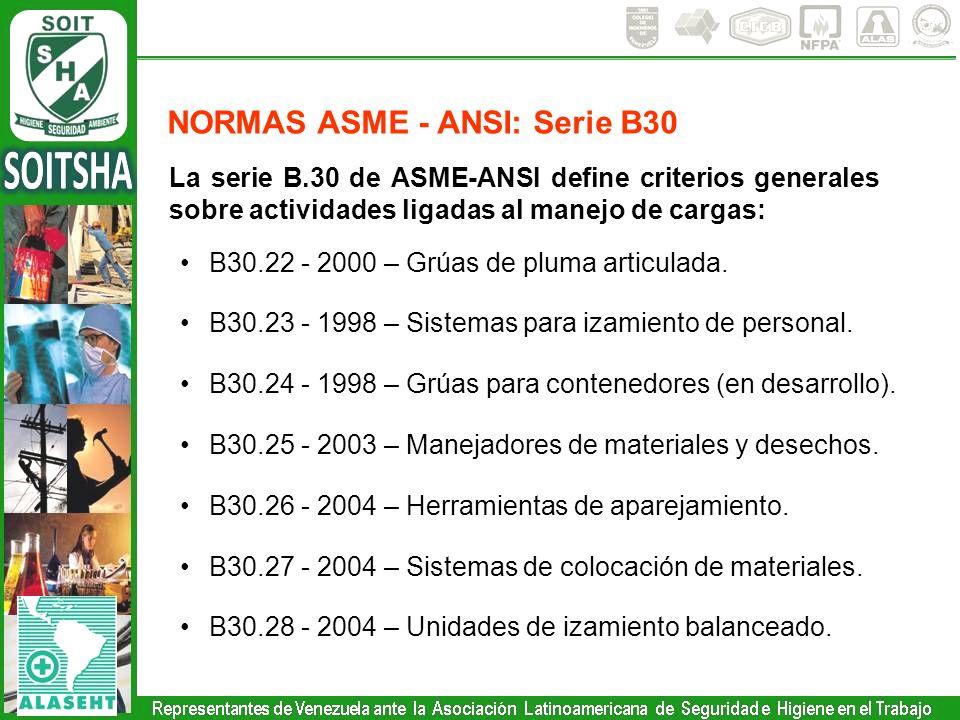 La serie B.30 de ASME-ANSI define criterios generales sobre actividades ligadas al manejo de cargas: B30.22 - 2000 – Grúas de pluma articulada. B30.23