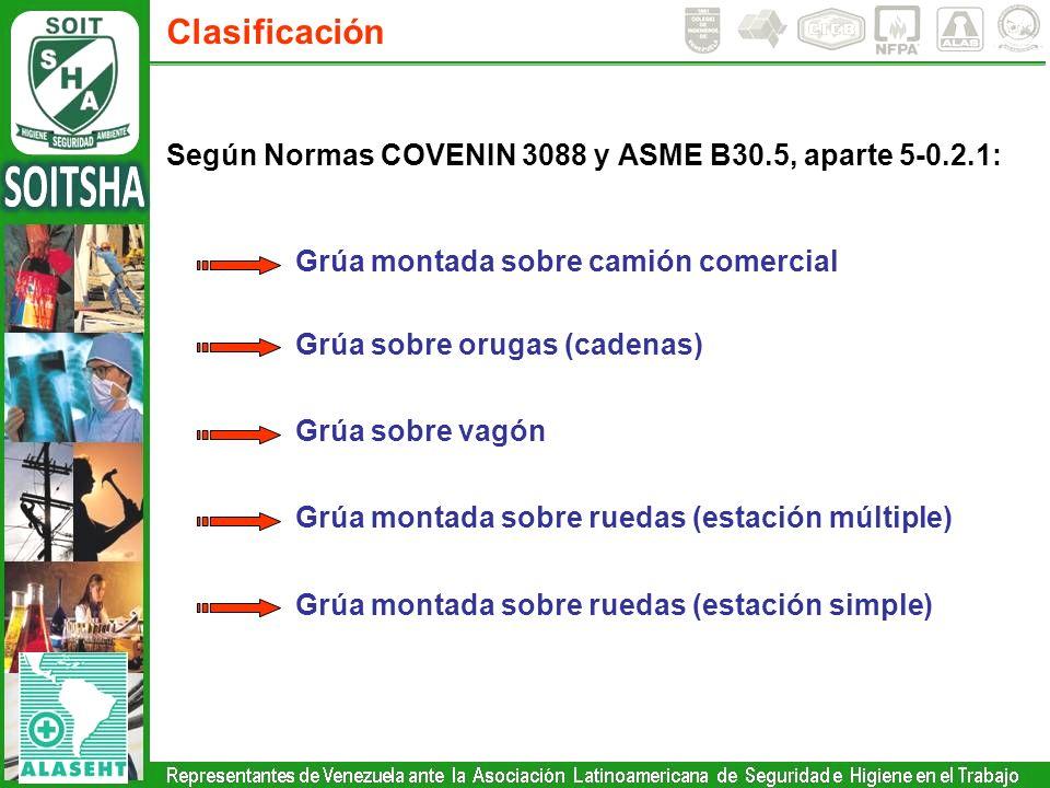 Clasificación Según Normas COVENIN 3088 y ASME B30.5, aparte 5-0.2.1: Grúa montada sobre camión comercial Grúa sobre orugas (cadenas) Grúa sobre vagón