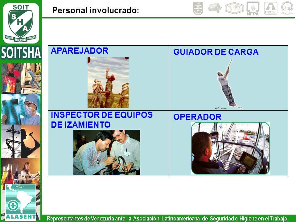 Personal involucrado: OPERADOR APAREJADOR GUIADOR DE CARGA INSPECTOR DE EQUIPOS DE IZAMIENTO